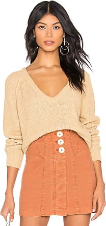 Free People High Low V Sweater in Tan