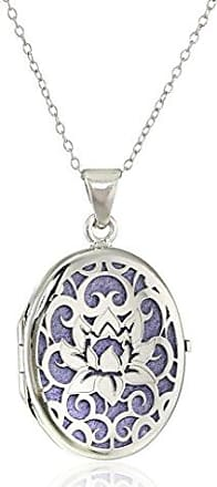 Amazon Collection Italian Sterling Silver and Purple Lotus Flower Locket Necklace, 18