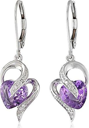 Amazon Collection 10k White Gold Amethyst and Diamond Accent Heart Drop Earrings