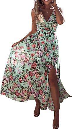 QIYUN.Z Womens Print V Neck Sleeveless Dresses Long Maxi Dress Chiffon Beach Dress Light Green XL