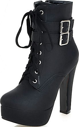 Vimisaoi Womens Leather Combat Boots, Platform Chunky High Heels Lace-up Motorcycle Ankle Booties