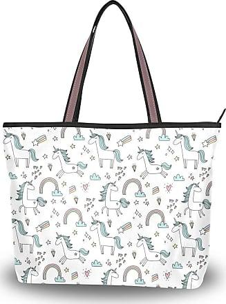 Lorona Women Unicorn Lettering Patch Canvas Shoulder Hand Bag Large Capacity Tote Bag