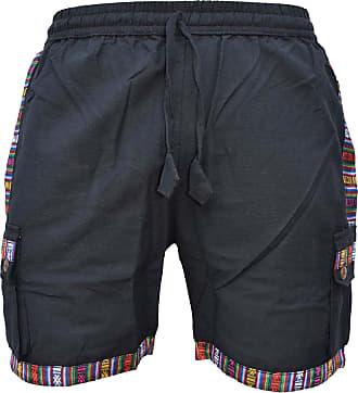 Gheri Mens Cotton Edge Nepalese Shorts Hippie Boho Half Pants Black Small