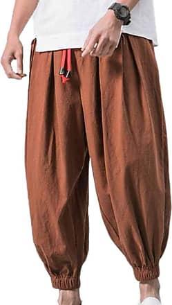 Hellomiko Men Cotton Linen Harem Pants Thin Bloom Pants Bloomers Pants Male Loose Casual Beam Trousers Plus Size Coffee 5XL