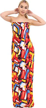 Momo & Ayat Fashions Ladies Floral Print Bandeau Boobtube Sheering Maxi Dress UK Size 8-26 (M/L (UK 12-14), Multi Paint Print)
