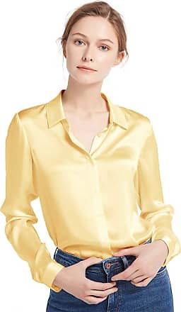 LilySilk Womens Charmeuse Silk Blouse Long Sleeve Ladies Top Shirt 100% Pure 22 Momme Silk Gold Size 18/XL