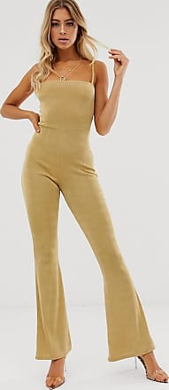 In The Style Slinky Square Neck Flared Leg Jumpsuit-Gold