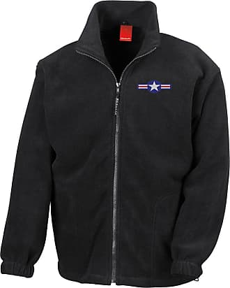 Military Online US Air Force USAF Roundel Embroidered Logo - Full Zip Heavyweight Fleece Jacket Black