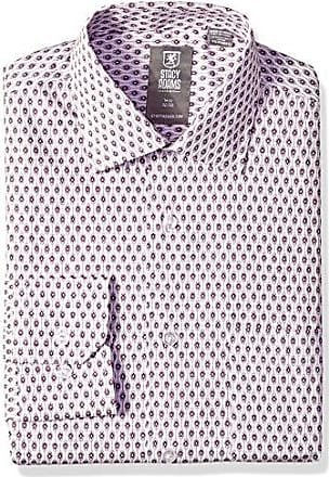 Stacy Adams Mens Big and Tall Feather Diam Print Modern Fit Dress Shirt, Wine 18 Neck 38-39 Sleeve