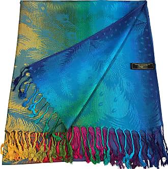 CJ Apparel Turquoise Feather Design Shawl Seconds Scarf Wrap Stole Throw Pashmina Pashminas NEW