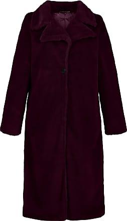 Ulla Popken Womens Plus Size Faux Fur Sherpa Coat Dark Aubergine 28/30 719291 80-54+