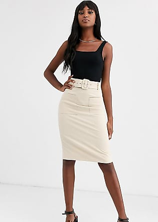 Y.A.S. Tall Arina belted high waisted skirt-Cream