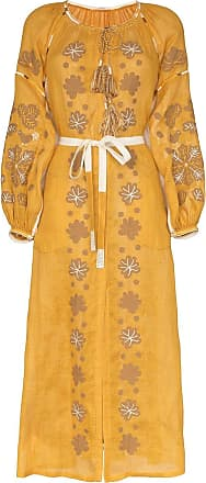 Vita Kin Vestido longo Forest de linho - Amarelo