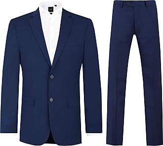 Dobell Mens Dark Blue 2 Piece Suit Regular Fit Notch Lapel (44R Jacket with 38R Trousers)
