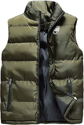 ZongSen Mens Sleeveless Down Vest Zipper Stand Collar Waistcoat Warm Comfortable Thick Quilted Jacket Army Green L