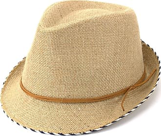 Hawkins Hessian Cotton Trilby Fedora Hat with Leather Band - Brown (61cm)