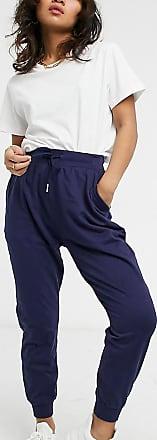 Pantalon de jogging pour femme Pantalon de surv/êtement en 100//% coton avec taille et bas des jambes en bord-c/ôte Bleu marine