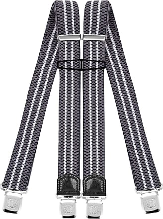 Decalen Mens Braces with Very Strong Clips Heavy Duty Suspenders One Size Fits All Wide Adjustable and Elastic X Style (Grey White)