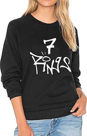 Dresswel Women 7 Rings Graphic Sweatshirt Pullover Round Neck Long Sleeve Shirts Jumper Blouse Tops Black