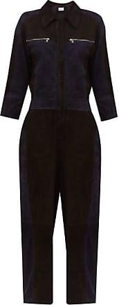 Raey Patchwork Suede Jumpsuit - Womens - Navy Multi
