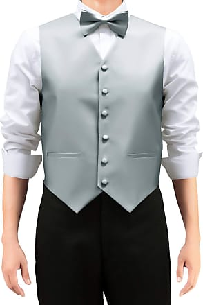 Retreez Mens Solid Color Woven Mens Suit Waistcoat, Dress Waistcoat Set with Matching Tie and Pre-Tied Bow Tie, 3 Pieces Gift Set as a, Birthday Gift - Grey,