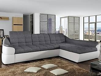 Venta-Unica.com Sofá cama rinconero tapizado de tela y piel sintética FAREZ - Bicolor gris y blanco - Ángulo derecho