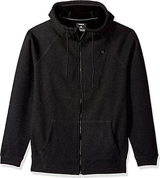 82a65e9a2d99 Hurley Mens Water Repellant Thermal Two Layer Zip Up Hoodie, Heather Black,  XL