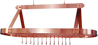 Old Dutch International Oval Hanging Pot Rack with Grid & 24 Hooks, Satin Copper, 48 x 19 x 15.5