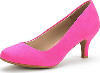 Dream Pairs Womens Slip On Low Kitten Heels Round Toe Pump Court Shoes Luvly Fuchsia Suede Size 7.5 US/ 5.5 UK