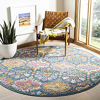 Safavieh Madison Collection MAD144A Blue and Orange Bohemian Chic Damask Round Area Rug (67 in Diameter)