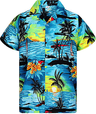 V.H.O. Funky Hawaiian Shirt, Shortsleeve, Surf, Turquoise, 6XL
