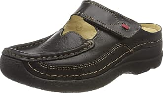 Wolky Comfort Clogs Roll Slipper - 70000 Black Printed Leather - 37