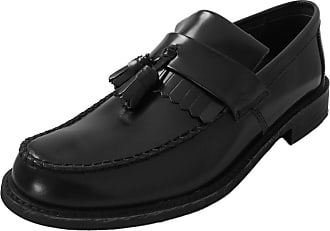 Roamers Mens Black Leather Loafers Sizes UK 9