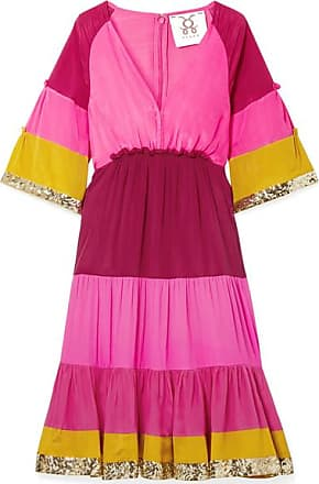 Figue Fiona Sequin-embellished Striped Silk-satin Dress - Pink