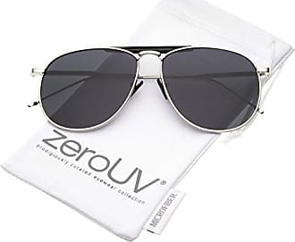fa5117c9ab2 zeroUV Oversize Metal Double Nose Bridge Ultra Slim Temple Flat Lens  Aviator Sunglasses