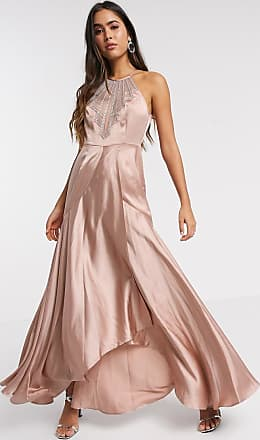 Asos maxi dress in satin with embellished neck in rose gold-Beige