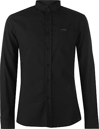 Firetrap Mens Basic Oxford Shirt Long Sleeve Button Fastening Collar Top Black XL