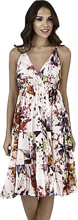 Lora Dora Womens Summer Dress V Neck White/Pink Flowers Size Large