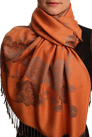 Liss Kiss Roses On Terracotta Pashmina Feel With Tassels - Brown Pashmina Floral Scarf