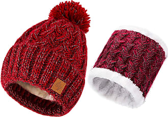 morefaz Set Scarf & Hat Women Winter Beanie Hat Knitted Hats Fleece Lining Pom Pom (Maroon Set Hat & Scarf)