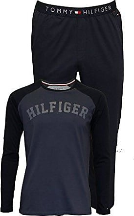 84666c9601 Tommy Hilfiger Langarm Hilfiger Logo Trikot Herren Schlafanzug Geschenk-set,  Blau/Marine Kleine
