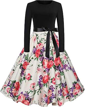 NPRADLA Women Vintage Bodycon Long Sleeve O Neck Evening Printing Party Prom Swing Dresses Dresses for Teen Dresses for Weeding Dressed Plus Size Prom Dresses