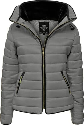 Parsa Fashions Malaika Ladies Quilted Padded Puffer Bubble Fur Collar Warm Thick Womens Jacket Coat - Available in Plus Sizes (Small to XXL) (XXL, Dark Grey)