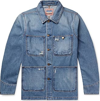 Acne Studios Albyr Distressed Denim Chore Jacket - Blue