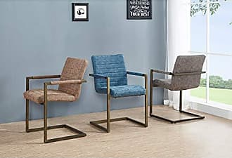 New Pacific Direct 3400021-268 Gerald PU Leather Arm, Set of 2 Dining Chairs, Kalahari Blue