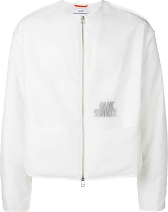OAMC collarless translucent logo jacket - White