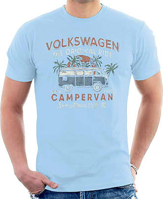 Volkswagen The Original Ride Campervan Mens T-Shirt Sky Blue