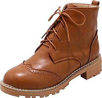 b6436845384974 UH Damen Flache Stiefeletten Schnür Ankle Boots mit Warme Gefüttert Bequeme  Vintage Herbst Winter Schuhe