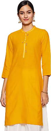 Indigo by Clarks Womens Cotton Straight Kurta (SS20/IND-1476_ Mustard_ Large)