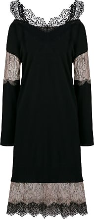 Blumarine Vestido com recorte de renda - Preto